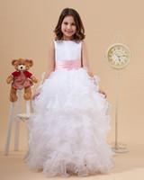 Wholesale wih pink rib Christening Communion bons appliqued sleeveless ball gown ruffled floor length flower girl dresses