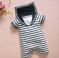 Boy 0-3 Months Short Sleeve Summer Baby romper infant rompers Stripe navy sailor modelling boys girls jumpsuits 0-2Year bodysuits Baby Clothing Kids wear RT448