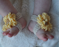 Crochet baby shoes girl thongs boy sandals cross flower butt...