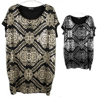 Wholesale Summer newarrival girl lady relax plus modal batwing sleeve silver gold sequin round collar black T shirt