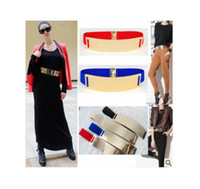 Wholesale Fashion Women s Metal Plate Elastic Metallic Bling Gold Mirror Wide Obi Corset cummerbund Waist Belt