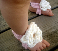 Crochet baby shoes girl sandals flower button thongs 0- 12M 2...