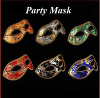 Wholesale Half Face Mask Halloween Masquerade mask male Venice Italy flathead lace bright cloth masks