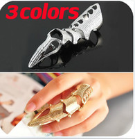 Wholesale Fashion jewelry colors Full Finger Jointed Knuckle Ring With Talon in Silver gold bronze Base Metal with tracking number