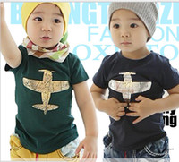 Wholesale Discount price kids clothes pure cotton plane picture short sleeve boys girls T shirt Year children tee shirts baby T shirt XF431