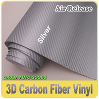 Wholesale M Silver D Carbon Fiber Vinyl Wrap Car Sticker Air Free By FedEx