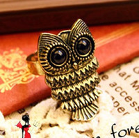 Wholesale New Design Retro lovely Owl Head Stretch Adjustable Fashion Ring color Vintage Bronze Silvery Cute Big Eyes Owl Adjustable Ring