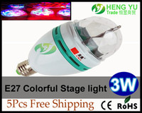 Wholesale 5pcs China post free New concept W E27 RGB Full Color LED Crystal Stage colorful Light Bulb lamp