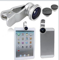 Wholesale Set New degree Universal in Clip On Fish Eye Lens Wide Angle Macro Lens For Phone iPhone s