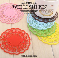 Wholesale 100PCS Sweet Hollow Out Lace Lace Cup Mat Silica Gel Cup Mat Insulation Pad Non Slip Cup Mat