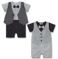 Wholesale hot sale bowties baby tuxedo romper vest short sleeve bodysuit babywear costume baby boy clothes outfits shortall waistcoat D71
