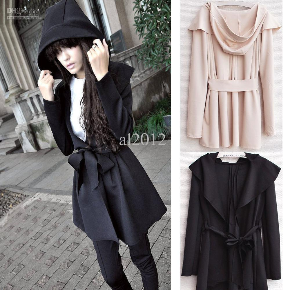 Fashion Women's Hooded Trench Coat Outerwear Dress Style Tops ...