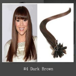 "wholesale -200s pack 1g s 14''- 24"" Keratin Stick u Tip Human Hair Extensions Peruvian hair 4# medium brown dhl Fast shipping"