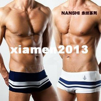 Wholesale New Sexy Teenage Men Mens Underwear Boxer Brief Stripe Navy Style Fashion Briefs