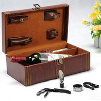 Wholesale Leather Wine Box Black Double Vessel Gift Buckets Coolers Holders Wine Rack Gifts