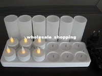 Wholesale electronic LED candle light rechargable set with charge holder home parties decoration christmas gifts freeshipping