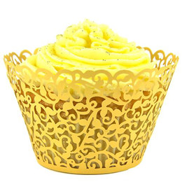 Laser cut god Filgree Vine Cupcake Wrappers for Wedding Decoration, Birthday, Baby Shower cupcake Liners 100pcs