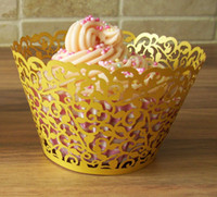 Wholesale Gold Vine wedding Cupcake wrappers patry supplies Vine Figtree cake Liners