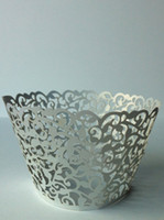 cupcake liners - silver Laser cut Filgree Vine Cupcake Wrappers for Wedding Decoration silver Baby Shower cupcake Liners
