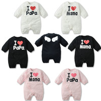 0-3 Months baby girl dad - Fashion toddler boys girls cute romper I Love Mom Dad Angel Wings baby long sleeve rompers Year infant jumpsuits QS245