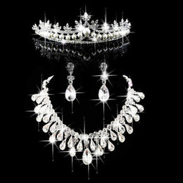 Wholesale Fashion Pearl Crown Tiara Bridal Jewelry Crystal Choker Necklace Earrings Wedding Evening Party Women Hair Accessories CN100