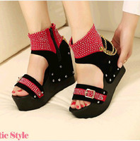 Women Wedge Leather / PU 2013 Korean fashion chain cross straps slope with waterproof side zipper rivet women's sandals slope with thick crust