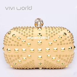 bolso de lujo de oro la noche famoso del diseñador, el punk de los rhinestones del cráneo del remache embragues, bolsos de fiesta del Reino Unido de la bandera / el bolso / los bolsos de embrague desde bolsos de fiesta uk fabricantes