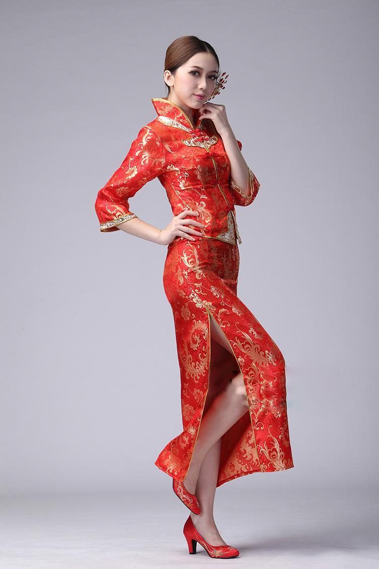 womens chinese dress ankle length evening gowns