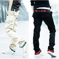Wholesale New Listing Man s Washed Pant Twill plaid Cotton Blended Plaid Double Belt Pants Send Belt C091