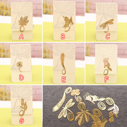 Wholesale Metal Bookmarks Butterfly Dragonfly Rose Feather Dolls Gold Business Bookmark Gifts Wedding Favors