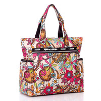 Men beach bags - New Arrival Flower printed waterproof nylon plus size handbag women cloth shoulder bag beach soft bag women s shopping tote