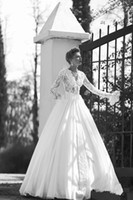 Lace ball france - 2013 A line Long Sleeve V Neck Lace Ball Gown Lace Flowers Elegant France Style Bridal Wedding Dresses