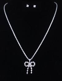 Wholesale One Dozen Wedding Jewelry Sets With Rhinestone Crystal Bowknot shape Pendant Necklace Earpins For Bridal Elegant Women W35186H01