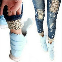 Wholesale 2013 Female leopard print wearing white retro finishing hole butt lifting pencil jeans roll up hem