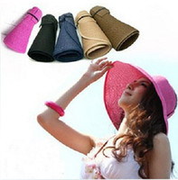 Wholesale 2013 New Fashion Wide Large Brim Beach Hat Visors Ladies Summer Sunscreen Straw Floding Hat Derby Cap