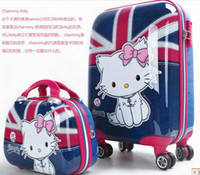 Wholesale new design british style cute cat mother and child travel suitcases school luggage trolley luggage fashion and nice