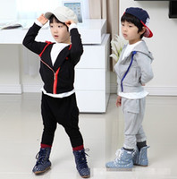 Wholesale Autumn Children Boys Pure Cotton Sport Outfits Koran Boy Asymmetric Zipper Design Hoded Outerwear Loose Long Pants Kids Leisure Sets