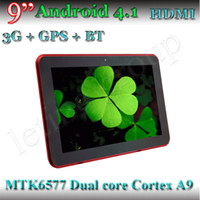 9 pulgadas de doble núcleo MTK6577 3G Tablet PC GPS Bluetooth Anroid 4.1 512MB RAM 4 GB de doble cámara 1024 * 600 Pantalla capacitiva Phablet