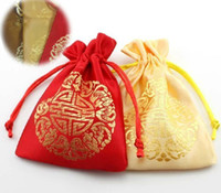 Wholesale 100pcs cm silk Jewelry packing pouches ring earrings pendant Bag Bundle gift Bags wedding favor candy holder Hj012