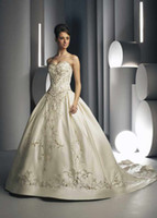 Exquisite handamde sweetheart wedding dresses with embroider...