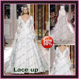 2013 Sexy Zuhair Murad Vintage Beach Wedding Dresses V Neck Sheer Long