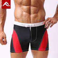 Cheap Free shipping New Arrival men's fashion color contrasting mid-waist boxer swimming trunks boy's fashion swimwear beach shorts