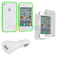 Plastic For Apple iPhone For Christmas Neon Green Solid TPU Bumper Case Cover+Car Charger+LCD Guard For iPhone 4 4G 4S