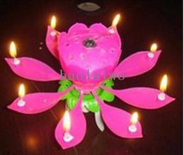 El envío libre 5pcs / lot del flor de Lotus Flower Candle Light fiesta de cumpleaños de Música torta vela Chispa Musical PH030 mayorista desde velas de cumpleaños barcos fabricantes