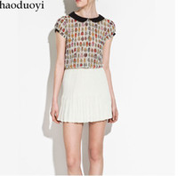 Chiffon Short Sleeve  2013 Summer new women Beetle patterns hit color doll collar short-sleeved chiffon ladies' blouse D-460