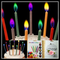 Wholesale Magic Colored Flames Candle Magic Birthday Party Decoration Hot Selling Party Supplies packs pack FreeShipping promotiona