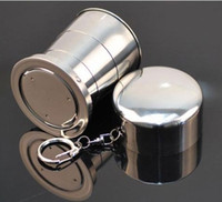 Wholesale Stainless Steel Portable Mini Travel Retractable Cup Keychain Folding Collapsible Cup