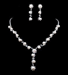 Wholesale NEWEST Charming generous Bride necklace wedding dress accessories imitate pearl jewelry set ladies one dozen W34430