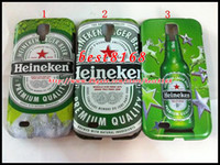 Wholesale Heineken beer wine cup glass plastic PC hard Case for Samsung I9500 Galaxy S4 S premium star raindrop skin cover cases