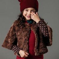 Wholesale Autumn Winter Kids Girl Three Quarter Sleeve Fur Coat Brown Beige Girls Fur Wraps Garments Children Lining Leopard Outcoat